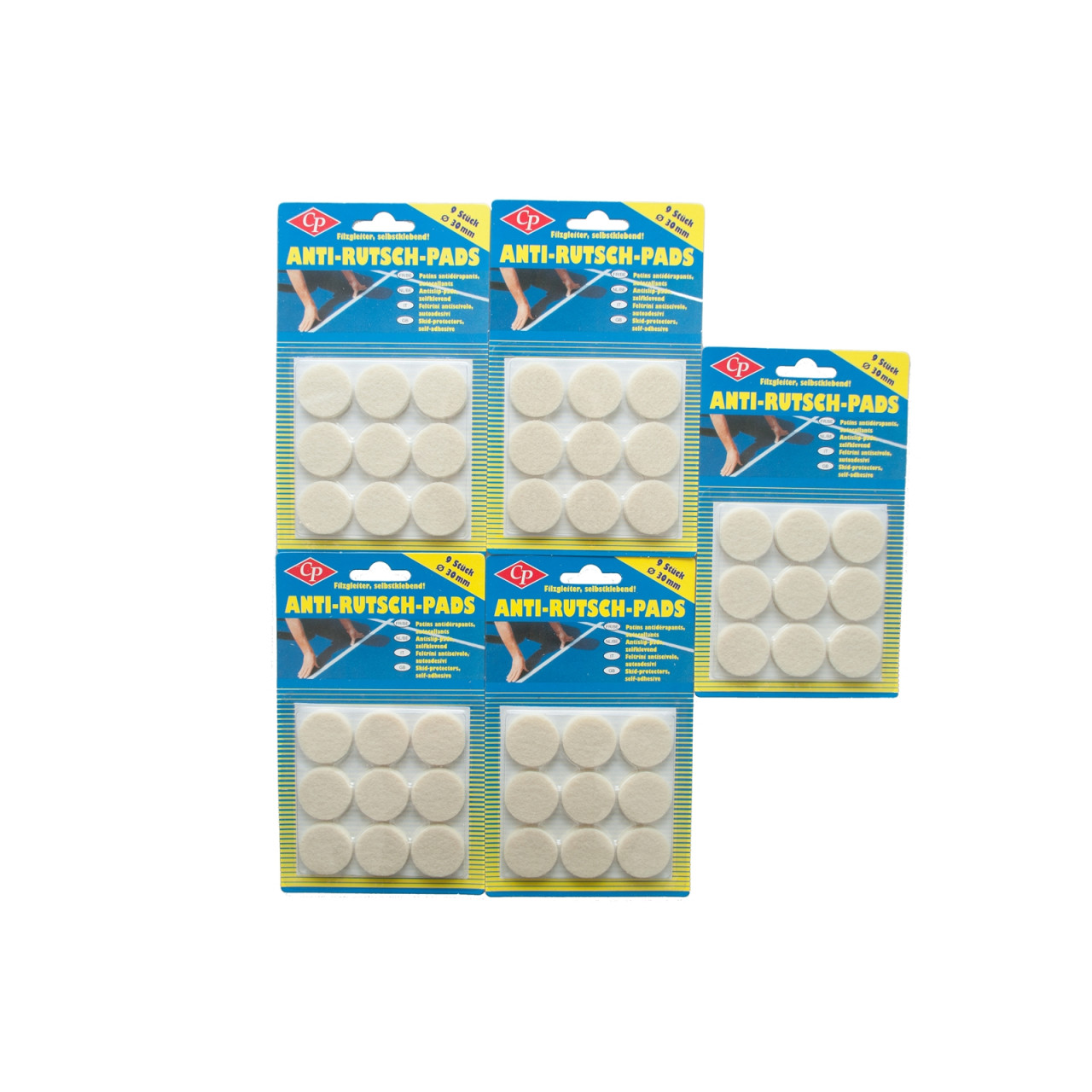 HTI-Living Rund Filz Anti-Rutsch-Pads 5er Set
